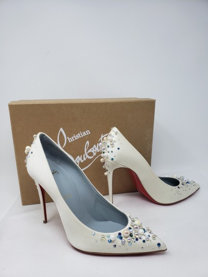 Christian Louboutin Beaded Crystal So Kate Pearl Candidate Crepe White Pumps Image 9