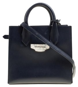 Balenciaga Leather Fabric Tote in Navy Blue