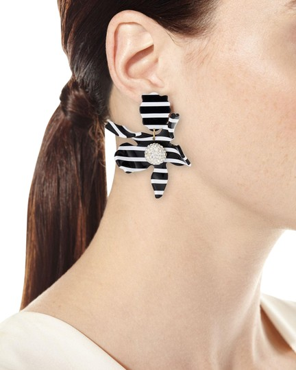 Preload https://img-static.tradesy.com/item/25787359/lele-sadoughi-black-and-white-w-stripe-lily-clip-earrings-crystal-accent-necklace-0-4-540-540.jpg