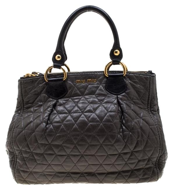 Item - Dark Grey/Black Quilted Double Zip Grey Leather Tote