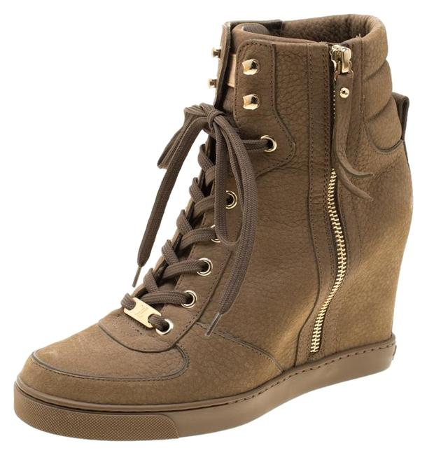 Item - Green Khaki Suede Wedge Ankle Boots/Booties Size EU 38 (Approx. US 8) Regular (M, B)