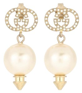 Gucci GG logo crystal pearl gold tone earrings