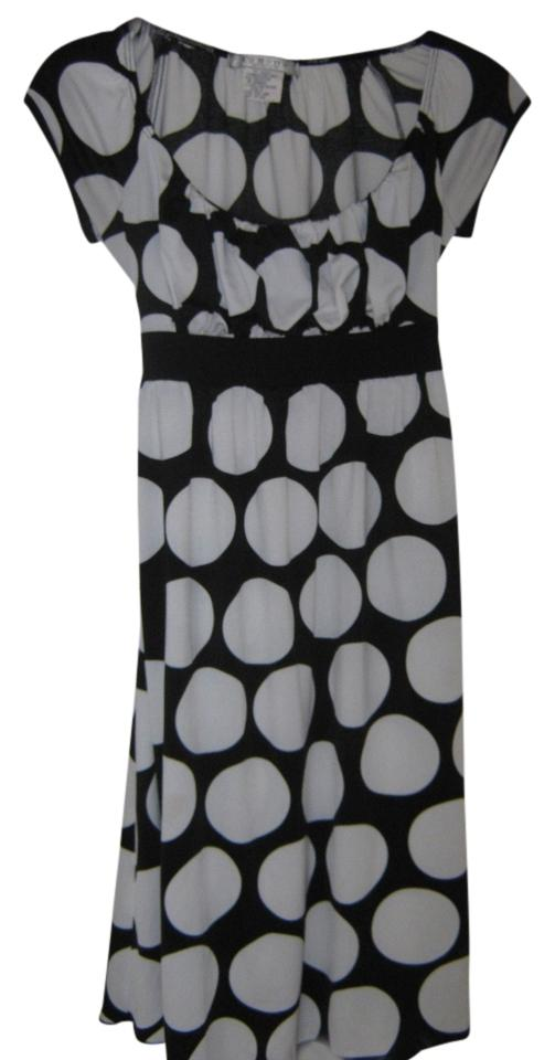acf2a3f6b La Belle Black W/White Polka Dots Above Knee Short Casual Dress Size ...