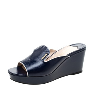 Prada Patent Leather Leather Wedge Navy Blue Sandals