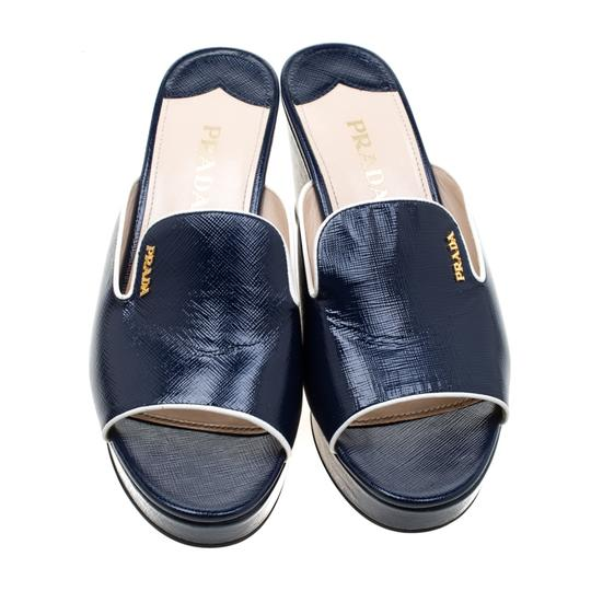 Prada Patent Leather Leather Wedge Navy Blue Sandals Image 1