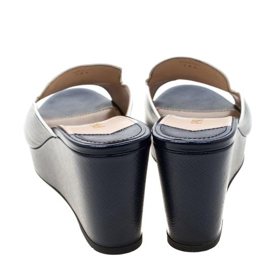 Prada Patent Leather Leather Wedge Navy Blue Sandals Image 2