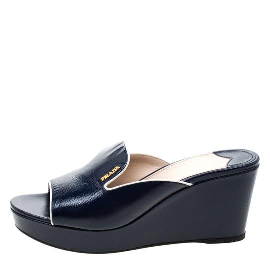 Prada Patent Leather Leather Wedge Navy Blue Sandals Image 3