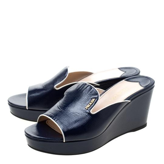 Prada Patent Leather Leather Wedge Navy Blue Sandals Image 4