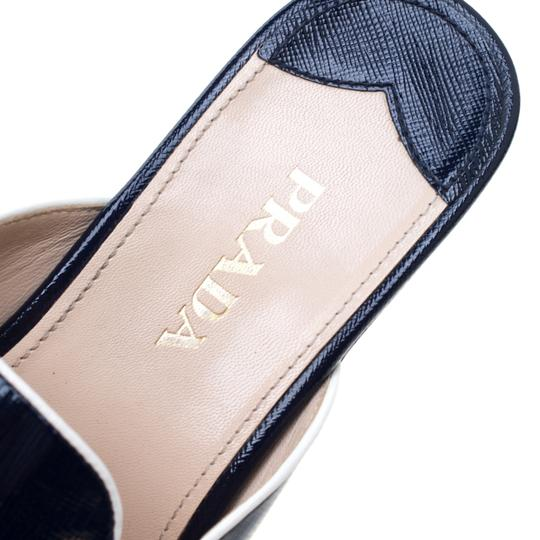Prada Patent Leather Leather Wedge Navy Blue Sandals Image 6