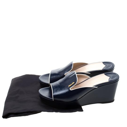 Prada Patent Leather Leather Wedge Navy Blue Sandals Image 7