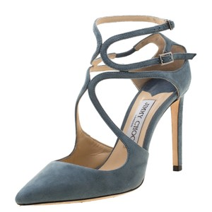 Jimmy Choo Suede Ankle Strap Pointed Toe Leather Grey Sandals