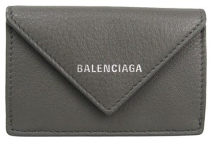 Balenciaga Balenciaga Paper Mini Wallet 391446 Women's Leather Wallet (tri-fold) Gray