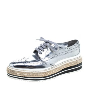Prada Leather Espadrille Platform Rubber Silver Wedges