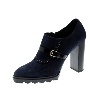 Tod's Suede Detail Ankle Leather Rubber Blue Boots