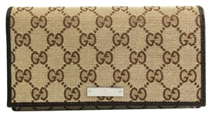 Gucci Gucci 244946 Unisex GG Canvas Calfskin Long Wallet (bi-fold) Beige,Brown