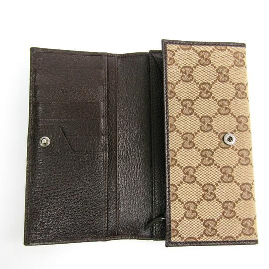 Gucci Gucci 244946 Unisex GG Canvas Calfskin Long Wallet (bi-fold) Beige,Brown Image 2
