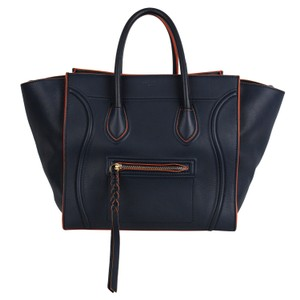 Céline Small Square Luggage Phantom Lambskin Leather Tote in Blue