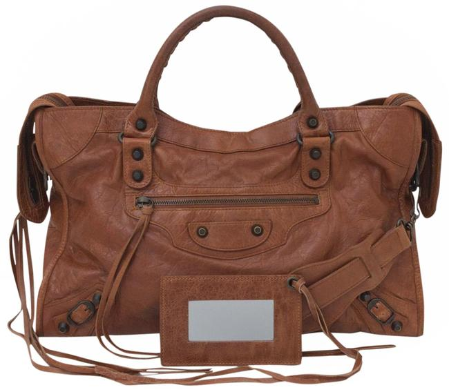 Item - Classic Studs City Handbag Cognac Brown Lambskin Leather Shoulder Bag
