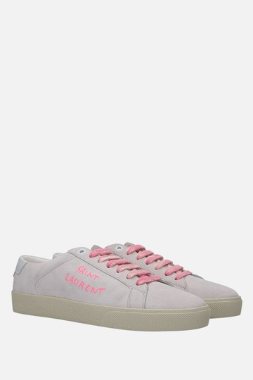 Saint Laurent Heels Pumps Ysl Sneakers Grey & Pink Athletic Image 2