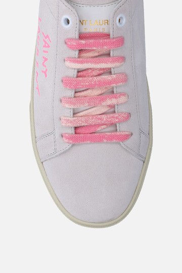 Saint Laurent Heels Pumps Ysl Sneakers Grey & Pink Athletic Image 3