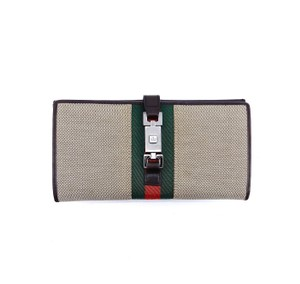 Gucci Web Canvas Leather Long Bifold Clutch