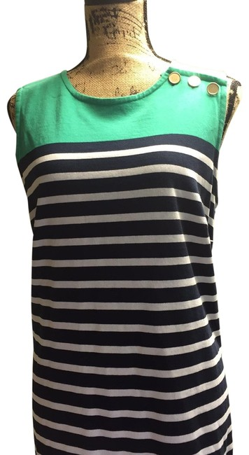Item - Green with Navy & White Stripes V3483/F3167 Mid-length Work/Office Dress Size 14 (L)