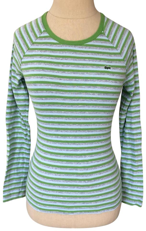 2eec5e7b Lacoste Green Multi Striped Cotton Long Sleeve Tee Shirt Size 2 (XS)
