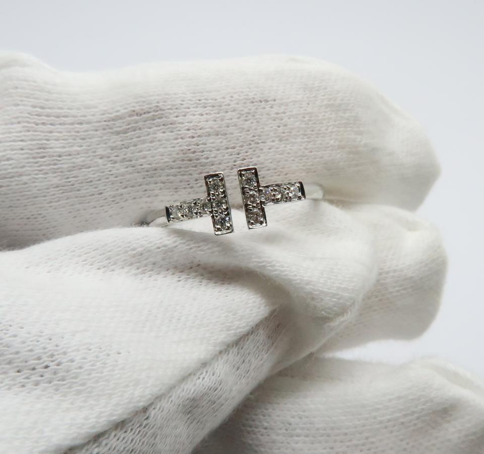 71ab13c993f82 Tiffany & Co. 18k White Gold and Diamonds T Wire Ring 39% off retail