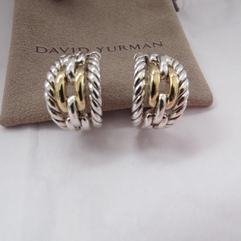 1c5a046a3854c David Yurman Silver/Gold Wellesley Link 21mm Sterling Silver/18k Yellow  Hoops Earrings 48% off retail