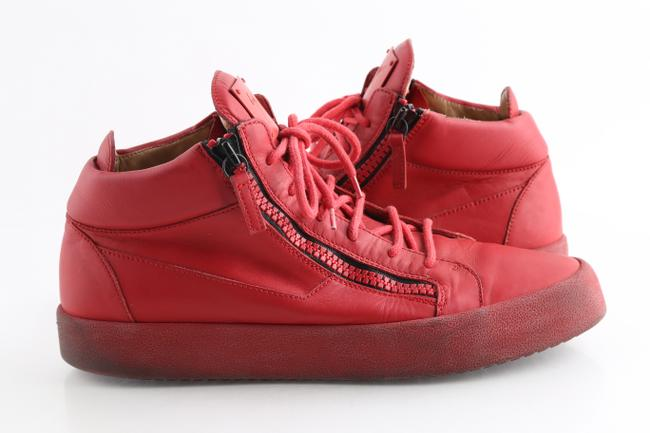 Item - Red Kriss Calfskin Mid Top Sneakers Shoes