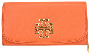 Tory Burch SPICED ORANGE BRITTEN DUO LEATHER ENVELOPE CONTINENTAL WALLET