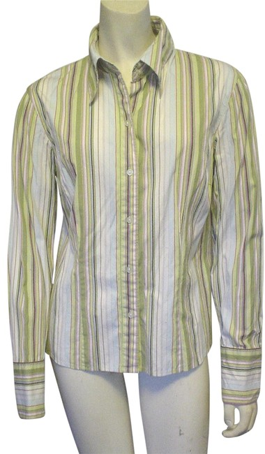 Item - Green Sport Stripe Fitted Shirt Career Sport Button-down Top Size 8 (M)