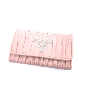 Prada Prada Portachiavi Ganci Pink Nappa Gaufre'1 Leather Key Holder 1PG222
