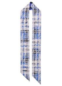 Burberry Burberry Womens Blue White Check Scribble Silk Twill Skinny Scarf