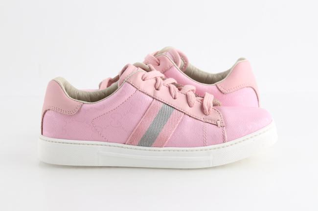 Item - Pink Imprime Web Lace-up Sneakers Shoes
