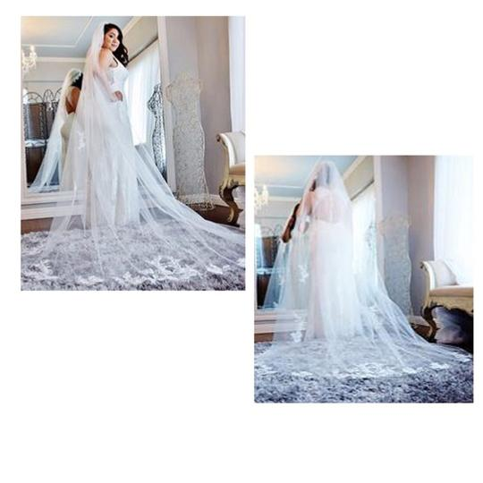David's Bridal White Long One Tier Sequin & Lace Cathedral Bridal Veil Image 6