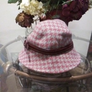 Coach Coach Wool Check Leather Trim.Hat