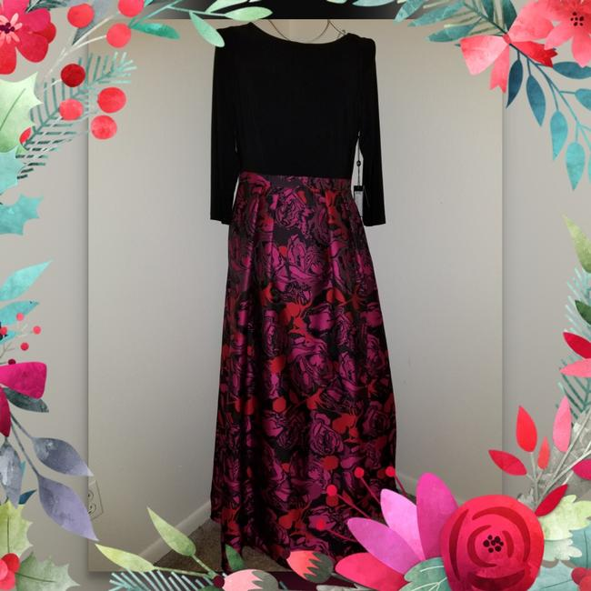 Adrianna Papell Black Red And Pink Ball Gown Long Formal Dress Size 12 L Tradesy