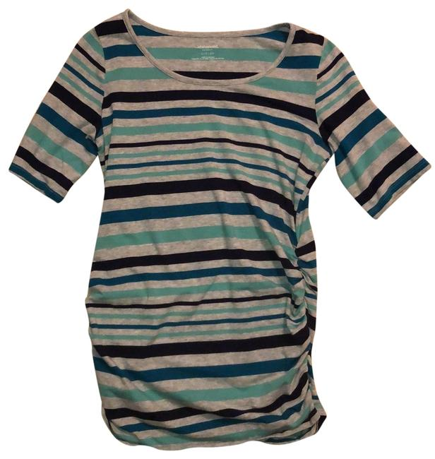 Item - Gray with Blue and Green Striped Maternity Top Size 6 (S)