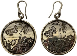 Gucci Gucci Sterling Silver Flora Icon Floral Etched Round Medallion Drop Ea