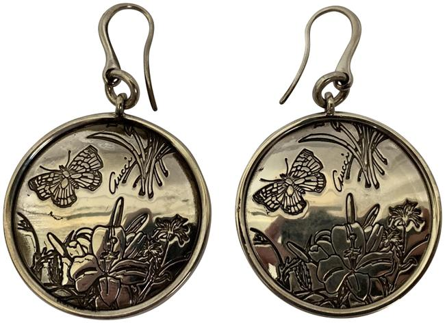 Item - Silver Sterling Flora Icon Floral Etched Round Medallion Drop Ea Earrings
