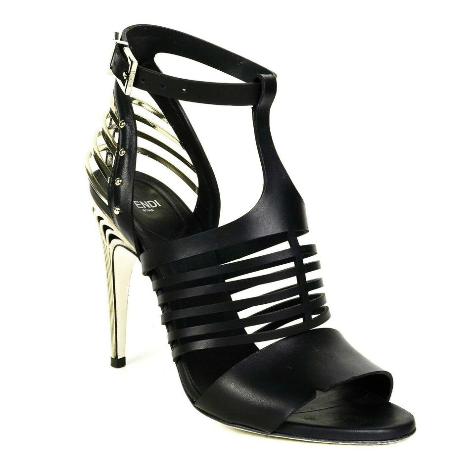 74817134931da Fendi Black - Silver Cage Heels Buckle Metal Heel Ankle Strap Sandals Size  EU 38 (Approx. US 8) Regular (M, B) 55% off retail