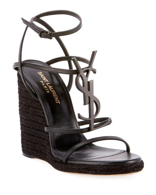 Item - Black Cassandre Ysl Metal Logo Opium Ankle Strap Wedge Pump Heel Sandals Size EU 36.5 (Approx. US 6.5) Regular (M, B)