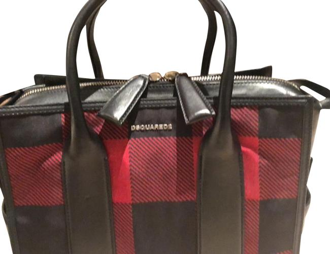 Item - Clutch Monogrammed Like New Tote with Removable Checkered Red and Black. Leather Trimmed Canvas Satchel