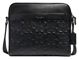 Coach Leather Crossbody Signature Houston black Messenger Bag