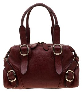Burberry Leather Fabric Satchel in Red