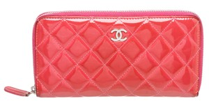 Chanel Chanel Pink Quilted Patent Leather Zippy Wallet