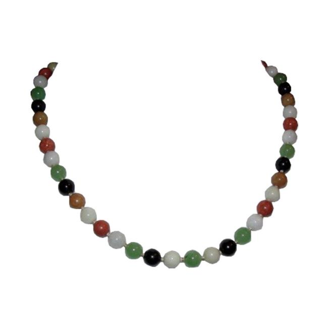 Item - Multi Colored 14 Kt Gold Jade Bead Necklace