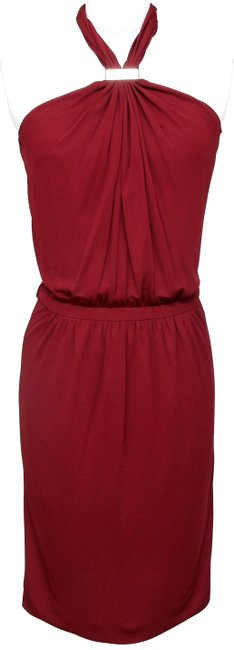 Item - Red Maroon Halter Gold-tone Hw Brown Viscose Sleeveless S Mid-length Cocktail Dress Size 4 (S)