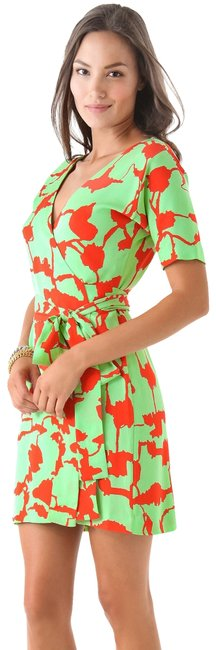 Item - Mint and Orange Dvf Shannon In Forest Weave Short Casual Dress Size 4 (S)